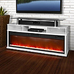 Lifesmart White 60' Stand for TVs up to 60' with Fireplace