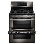 LG 30' Black Stainless Steel Double Oven Gas Range