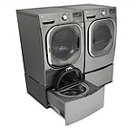 LG 4.5 Cu. Ft. Graphite Steel Steam Front-Load Washer and 7.4 Cu. Ft. Gas Dryer with Pedestal Washer and Drawer Pedestal