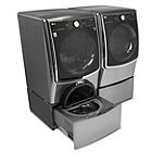 LG 4.5 Cu. Ft. Graphite Steel Front-Load Washer and 7.4 Cu. Ft. Gas Dryer with Pedestal Washer and Drawer Pedestal
