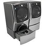 LG 5.2 Cu. Ft. Graphite Steel Front-Load Washer and 9 Cu. Ft. Gas Dryer with Pedestal Washer and Drawer Pedestal