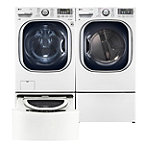 LG 4.5 Cu. Ft. Steam Front-Load Washer and 7.4 Cu. Ft. TrueSteam™ Gas Dryer with Pedestal Washer and Drawer Pedestal