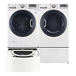 LG 4.3 Cu. Ft. Steam Front-Load Washer and 7.4 Cu. Ft. TrueSteam™ Gas Dryer with Pedestal Washer and Drawer Pedestal