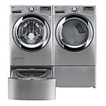 LG 4.5 Cu. Ft. Graphite Steel Steam Washer and 7.4 Cu. Ft. TrueSteam™ Gas Dryer with Pedestal Washer and Drawer Pedestal