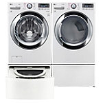 LG 4.5 Cu. Ft. Steam Washer and 7.4 Cu. Ft. TrueSteam™ Gas Dryer with Pedestal Washer and Drawer Pedestal