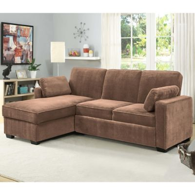 serta light brown sawyer dream convertible pullout sectional | hhgregg