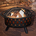 Pure Garden 32' Round Black Crossweave Fire Pit with Cover