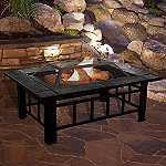 Pure Garden Black 37' Rectangular Tile Fire Pit with Cover