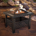 Pure Garden Bronze 26' Square Woven Metal Fire Pit with Cover