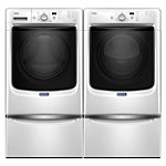 Maytag 4.3 Cu. Ft. Steam Front-Load Washer and 7.4 Cu. Ft. Gas Dryer with 2 Pedestal Drawers