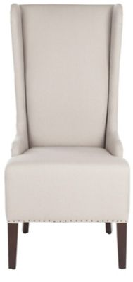 Safavieh Taupe Becall Dining Chair with Black Nailheads