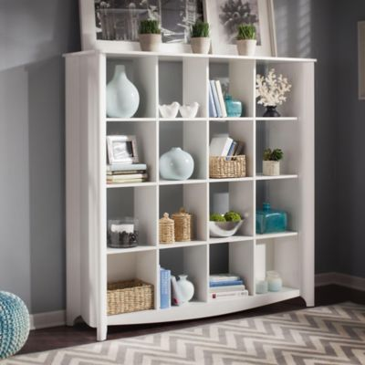 Bush Pure White Aero 16-Cube Bookcase