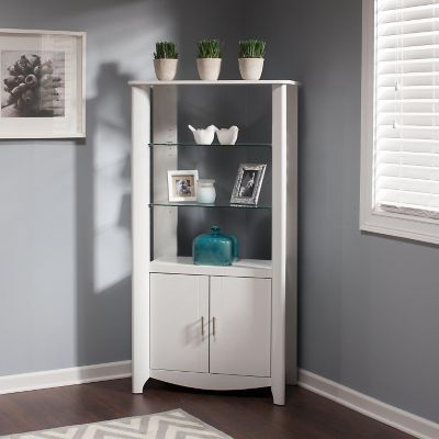 Bush Pure White Aero Tall Library Storage Cabinet