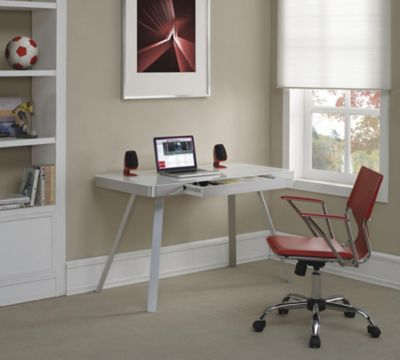 Tresanti White Tech Desk with Glass Top