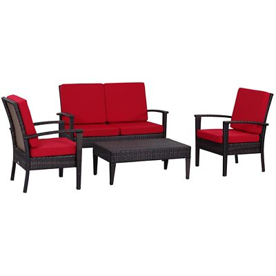 Safavieh Brown/Red 4-Piece Myers Patio Set