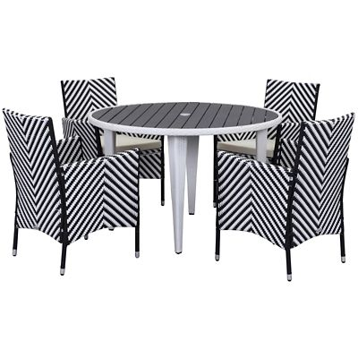 Safavieh Black/White 5-Piece Cooley Patio Dining Set