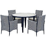 Safavieh Navy/White 5-Piece Cooley Patio Dining Set