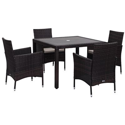 Safavieh Brown Sand 5 Piece Frazier Patio Dining Set