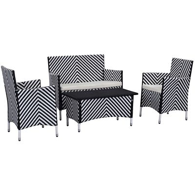 Safavieh Black White 4 Piece Figueroa Patio Set