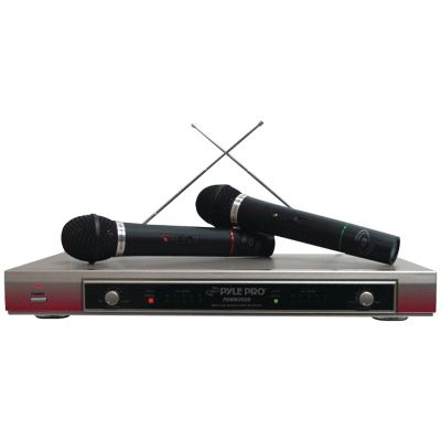 Pyle Pro Silver Dual VHF Wireless Microphone System