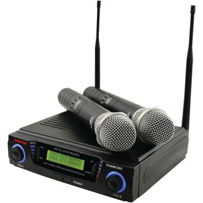 Pyle Pro Dual-Channel UHF Wireless Microphone System with Adjustable Frequency