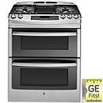 GE 30' Stainless Steel Slide-in Double Oven Gas Range