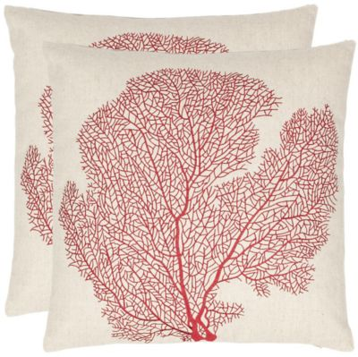 Safavieh Beach Red Spice-Fan Coral Pillows Set of 2
