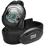 Pyle Black Bluetooth Fitness Heart Rate Monitoring Watch with Wireless Data Transmission and Sensor