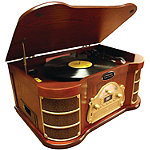 Pyle Home Classical Turntable with iPod, CD and Cassette Player, AM/FM Radio and USB Recording