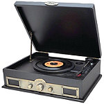 Pyle Black Classic Style Turntables with Bluetooth
