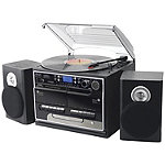 Pyle Home 3-Speed Turntable with CD and MP3 Player, Radio and Bluetooth