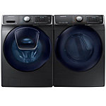 Samsung 5 Cu. Ft. Black Stainless AddWash™ Front-Load Steam Washer and 7.5 Cu. Ft. Steam Gas Dryer