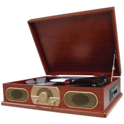 Studebaker Wood Turntable with AM/FM Radio and Cassette Player