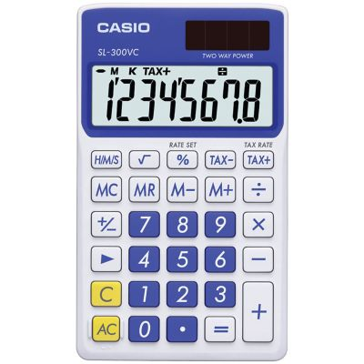 Casio Blue 8-Digit Solar Wallet Calculator