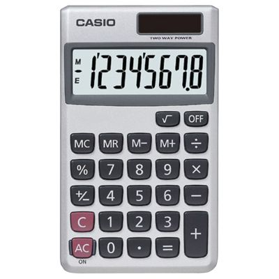 Casio 8-Digit Wallet Solar Calculator