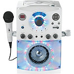 Singing Machine White Karaoke Player with Sound and Light Show