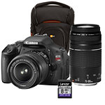 Canon 18 Megapixel Digital SLR Camera with 18-55mm IS Lens, 75-300mm Zoom Lens, Case and 8GB SD Card 599.99