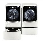LG 5.2 Cu. Ft. Front-Load Washer and 9 Cu. Ft. TurboSteam™ Electric Dryer with Pedestal Washer and Drawer Pedestal