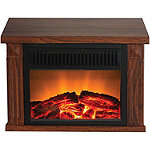 Warm House Wood-Print Finish Zurich Tabletop Retro Electric Fireplace