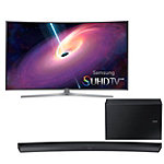 Samsung 55' Curved 4K SUHD 3D Smart TV with Soundbar and Wireless Subwoofer 2747.99