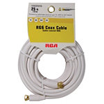 RCA 25' Digital Coaxial Cable with Gold-Plated Screw-On 'F' Connector (White)