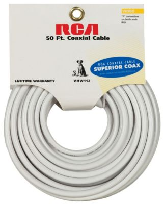 RCA 50' RG6 Coaxial Cable with Ends
