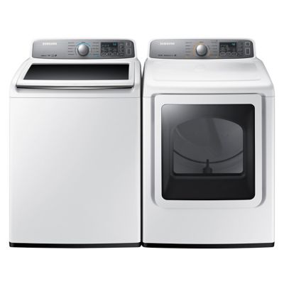 Samsung 4.8 Cu. Ft. High-Efficiency Top-Load Washer and 7.4 Cu. Ft. Steam Electric Dryer