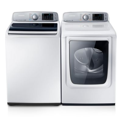 Samsung 5 Cu. Ft. High-Efficiency Top-Load Washer and 7.4 Cu. Ft. Steam Electric Dryer