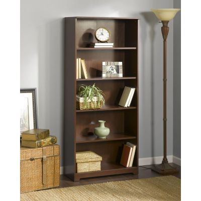 Bush Harvest Cherry Cabot Collection 5-Shelf Bookcase