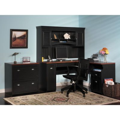 Bush Fairview Antique Black Desk Hutch