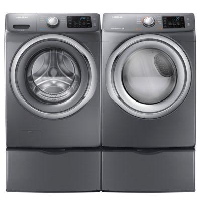 Samsung 4.2 Cu. Ft. Platinum Steam Front-Load Washer and 7.5 Cu. Ft. Platinum Steam Electric Dryer