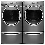 Whirlpool 4.5 Cu. Ft. Chrome Shadow Front-Load Steam Washer with 7.4 Cu. Ft. Steam Gas Dryer with 2 Pedestal Drawers
