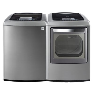 LG 4.5 Cu. Ft. Graphite Steel High-Efficiency Top-Load Washer and 7.3 Cu. Ft. Steam Electric Dryer