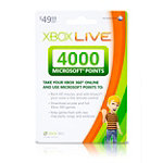 Xbox Live® 4000 Microsoft Points $49.99 Prepaid Card 49.99